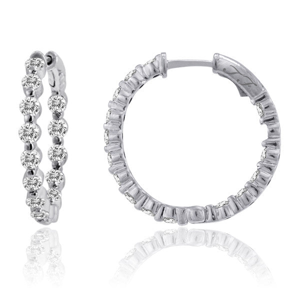 "Diamond Hoops In & Out Single Prong Setting 2.5ctw 1"" Spring Lock"