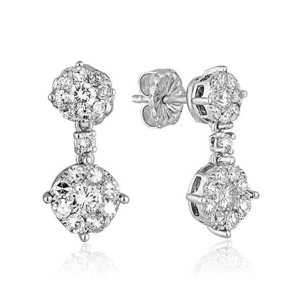 Double Cluster 1.5ctw Dangle Diamond Earrings