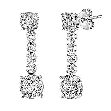 Diamond Dangle Cluster Earrings Invisible Set