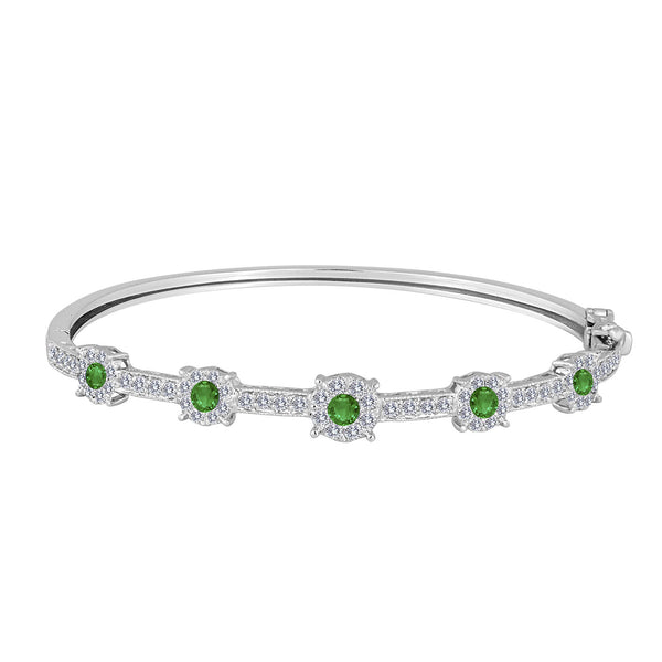 Diamond Emeral Bracelet Oval With Lock.