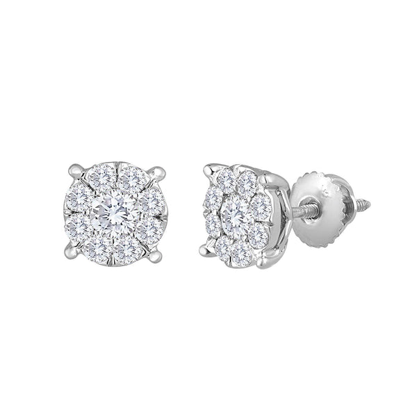 1.0ctw Diamond Stud Earrings, Invisible Set 7.5mm
