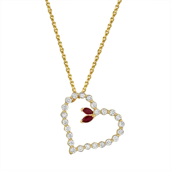 Diamond Heart Pendant With Marquise Ruby
