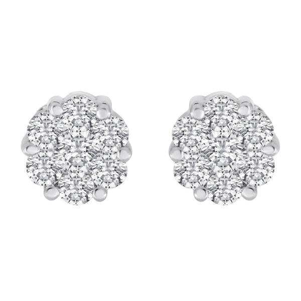 Diamond Stud Earrings Invisible Set Cluster Earrings 1.0ctw