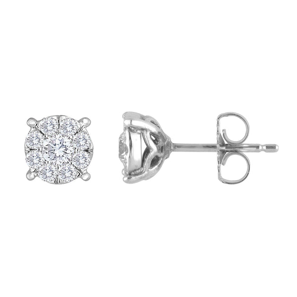.60ctw Diamond Stud Earrings Invisible Set 6.5mm - Together Forever