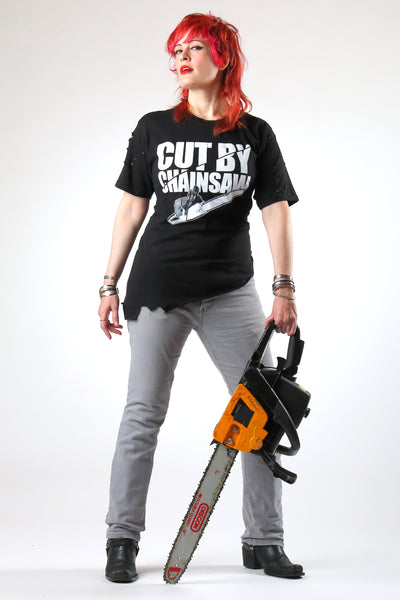 CUT BY CHAINSAW distressed t-shirt