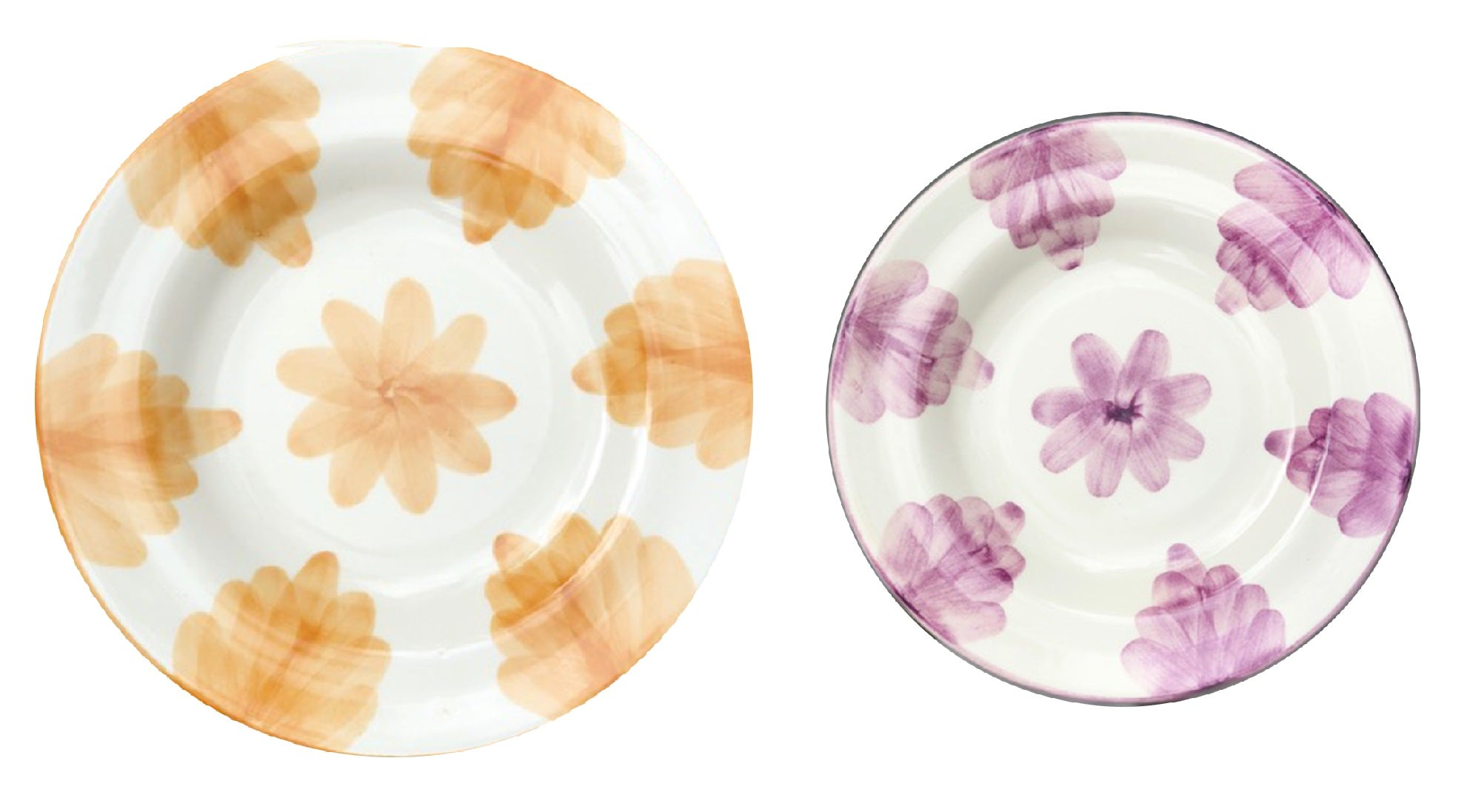 Our limited selection of handpainted flora plates are a collaboration with Gloria Gonzalez, their colours will brighten up any table