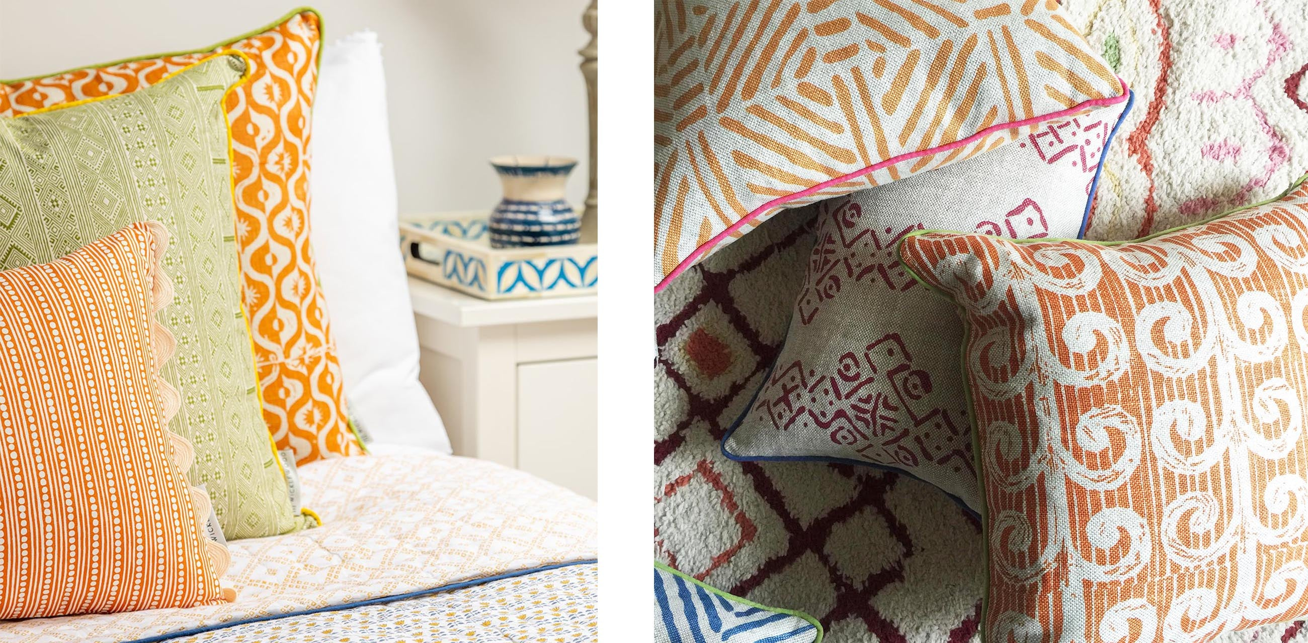 wicklewood autumn cushions with bold patterns and warm tones