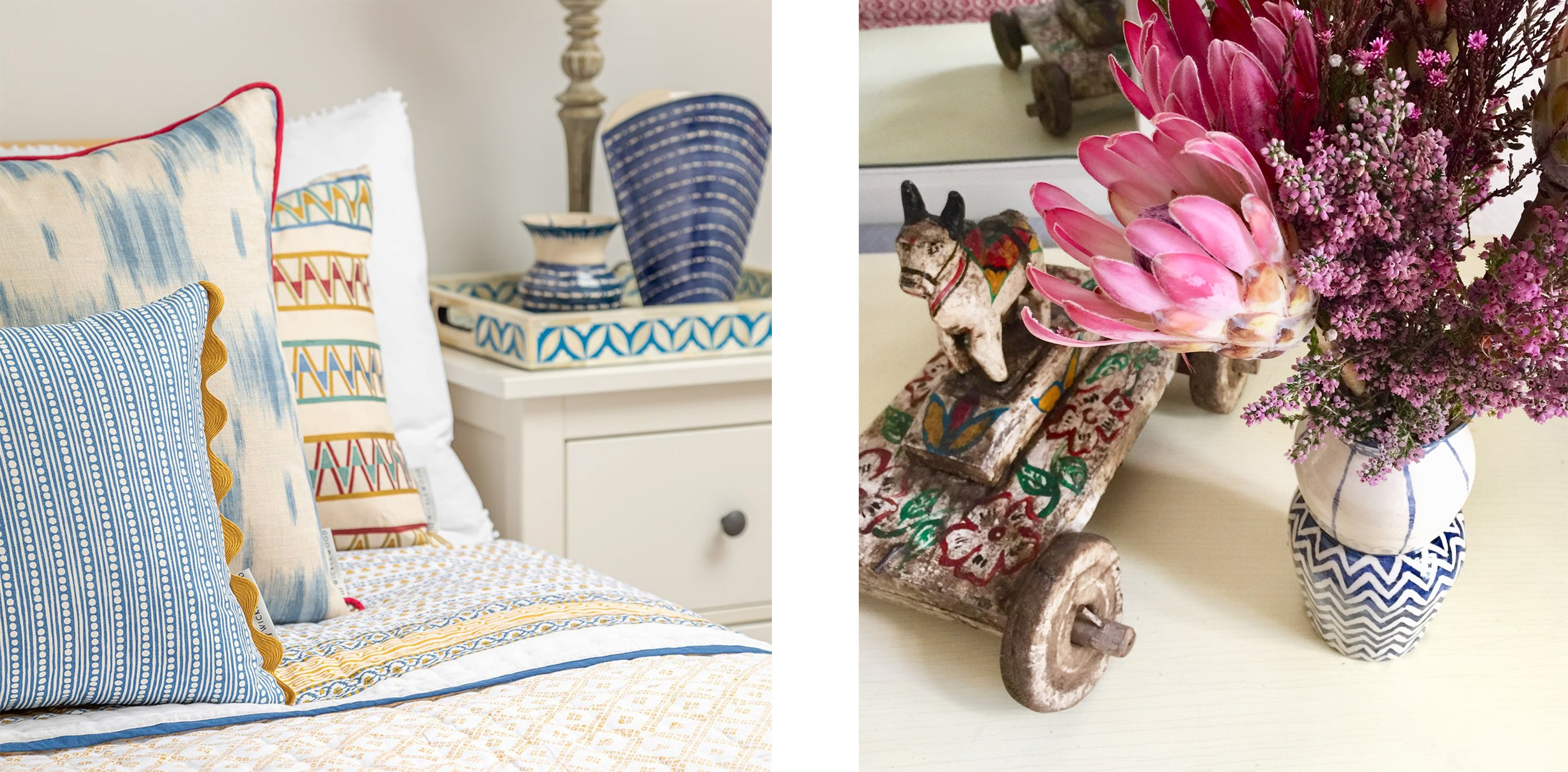 wicklewood bedside details include ceramics, nandi cows and indian inlays