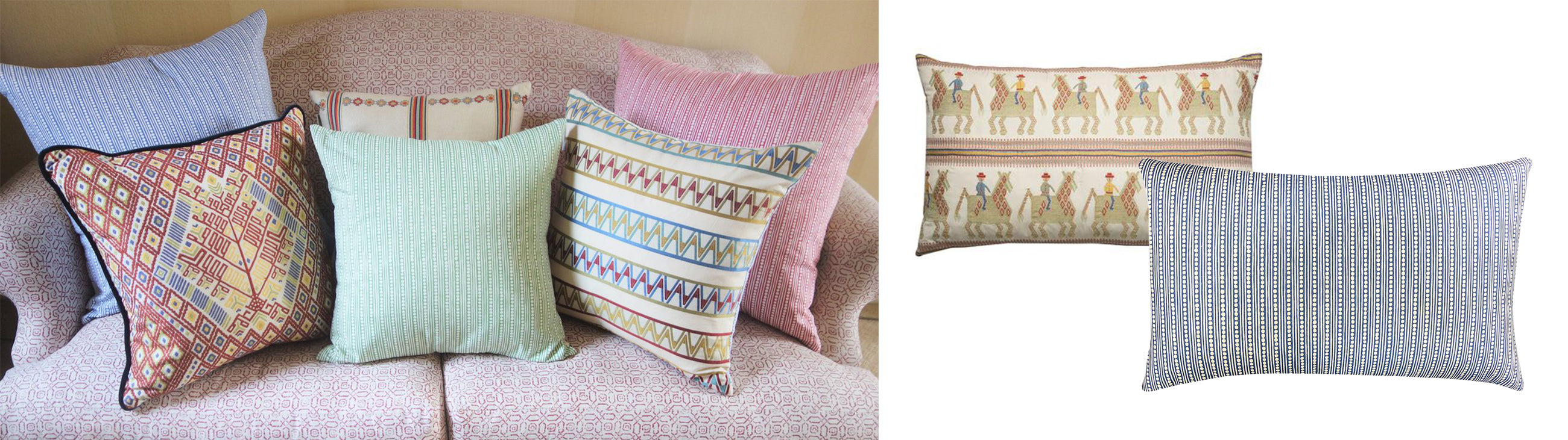 Wicklewood's reversible cushions now backed in Blithfield's spotted and striped Wicklewood fabric