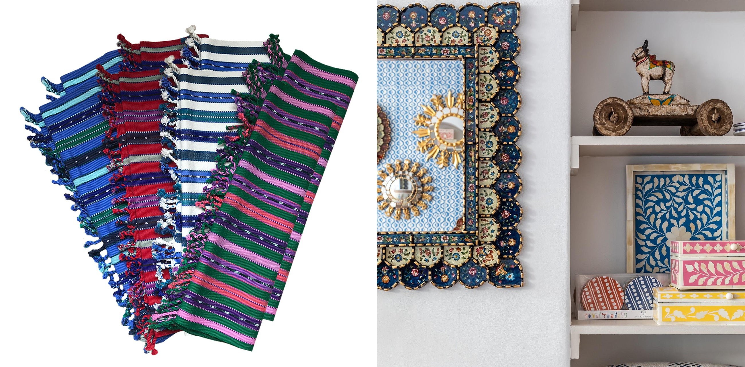 Wicklewood's ethical decorative accents, from hand woven Guatemalan placemats to hand made Indian inlay boxes and trays