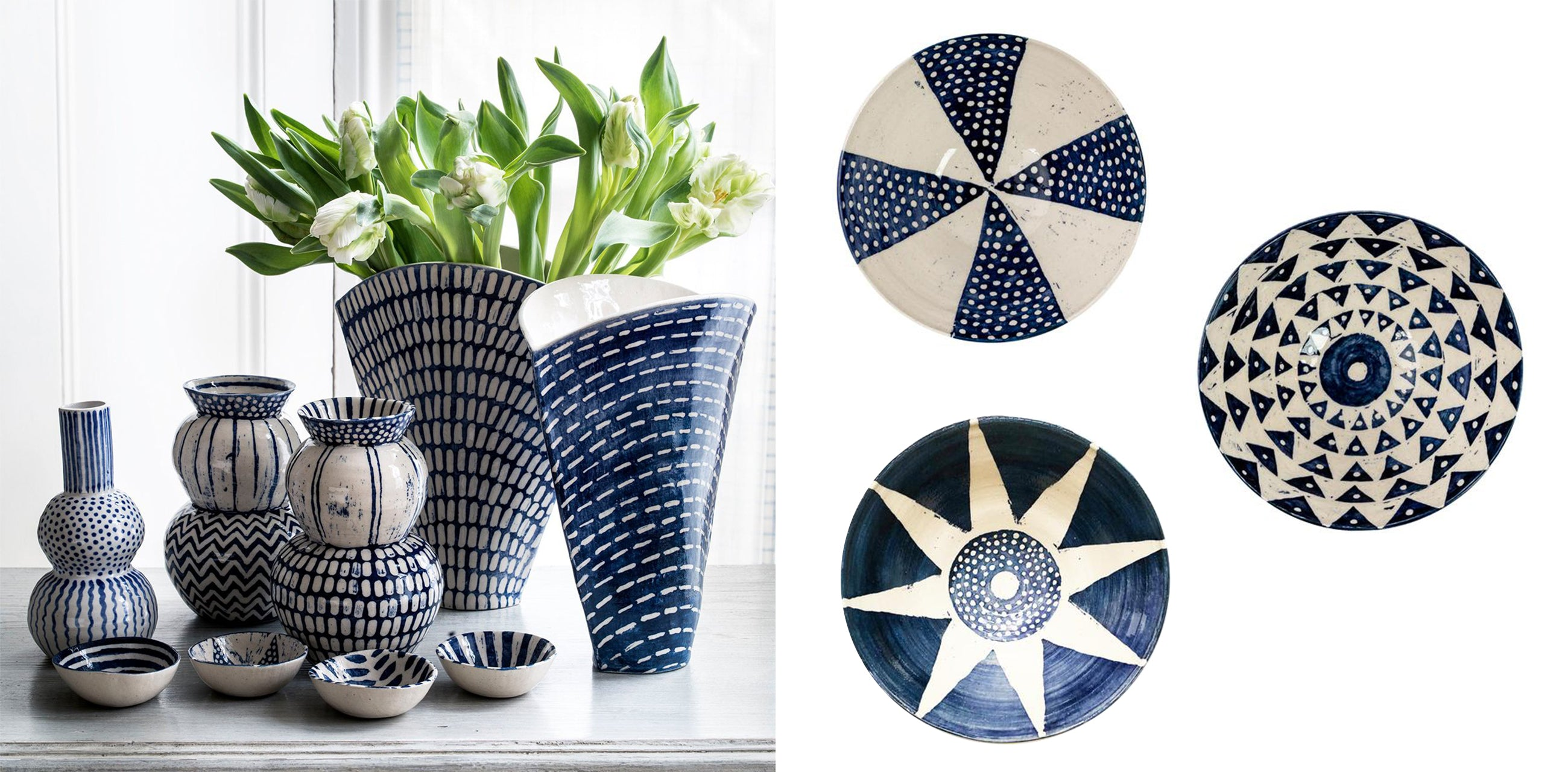 Wicklewood's hand thrown and hand painted blue and white ceramic vases and bowls