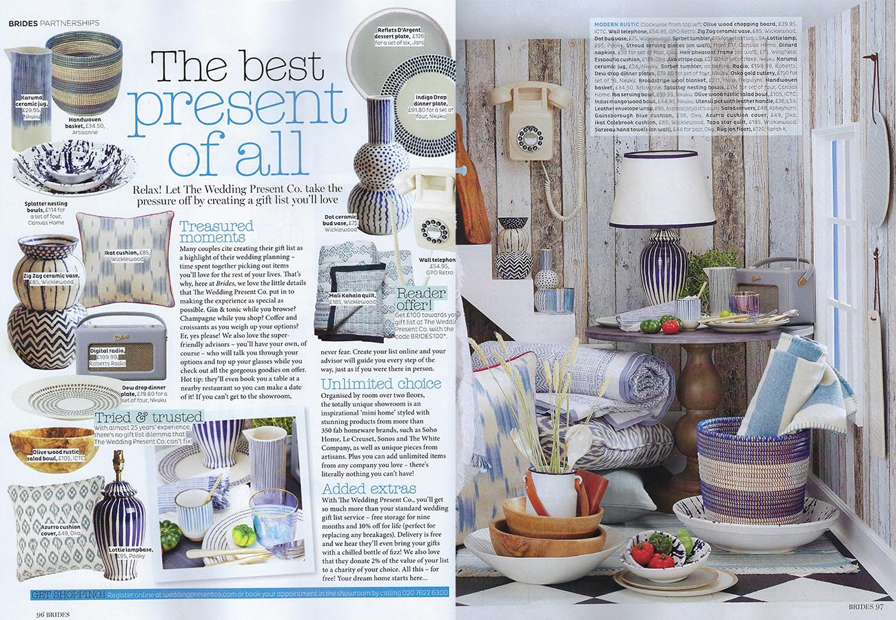 Wicklewood press featured in Brides January 2019 Issue, The Best Present of All by The Wedding Present Co, featuring Wicklewood blue and white square cushions, quilt and ceramic vases.