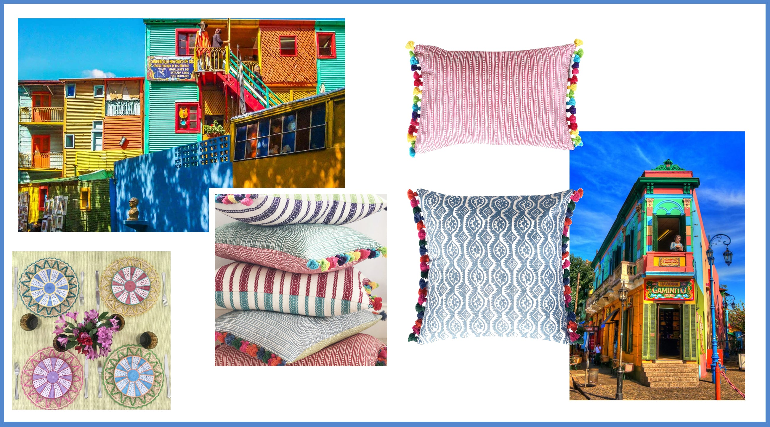 Shop wicklewood rainbow collection with multicoloured tasseled cushions and iraca placemats