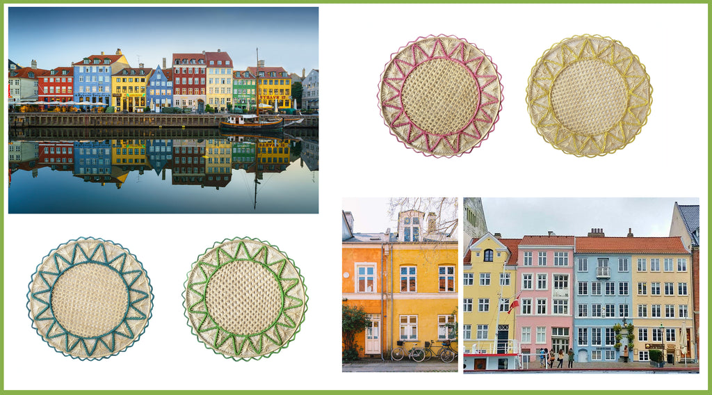 Images of Copenhagen and Wicklewood handwoven Iraca palm placemats