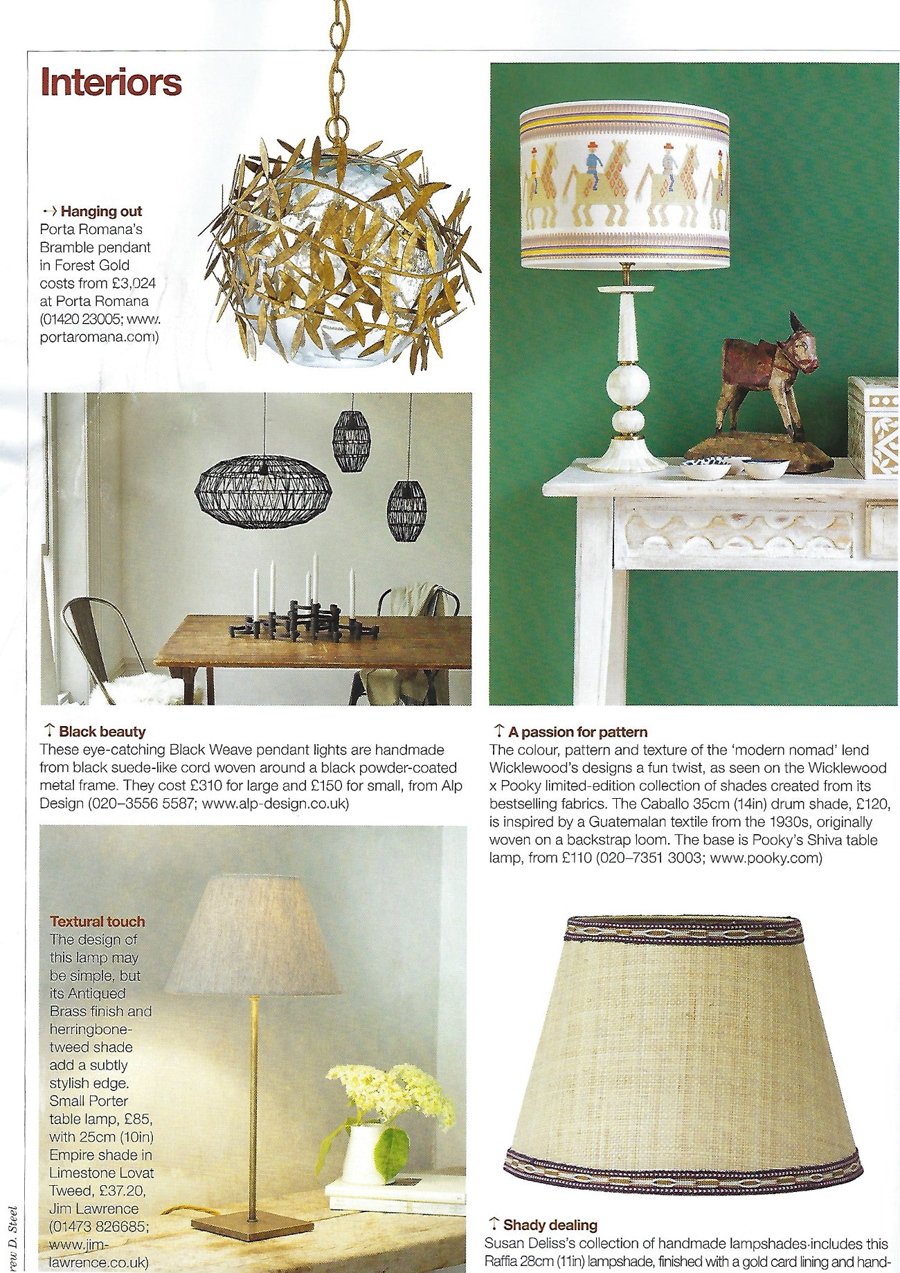Country Lifemagazine features Wicklewood lampshades in collaboration with Pooky on their February 2019 issue