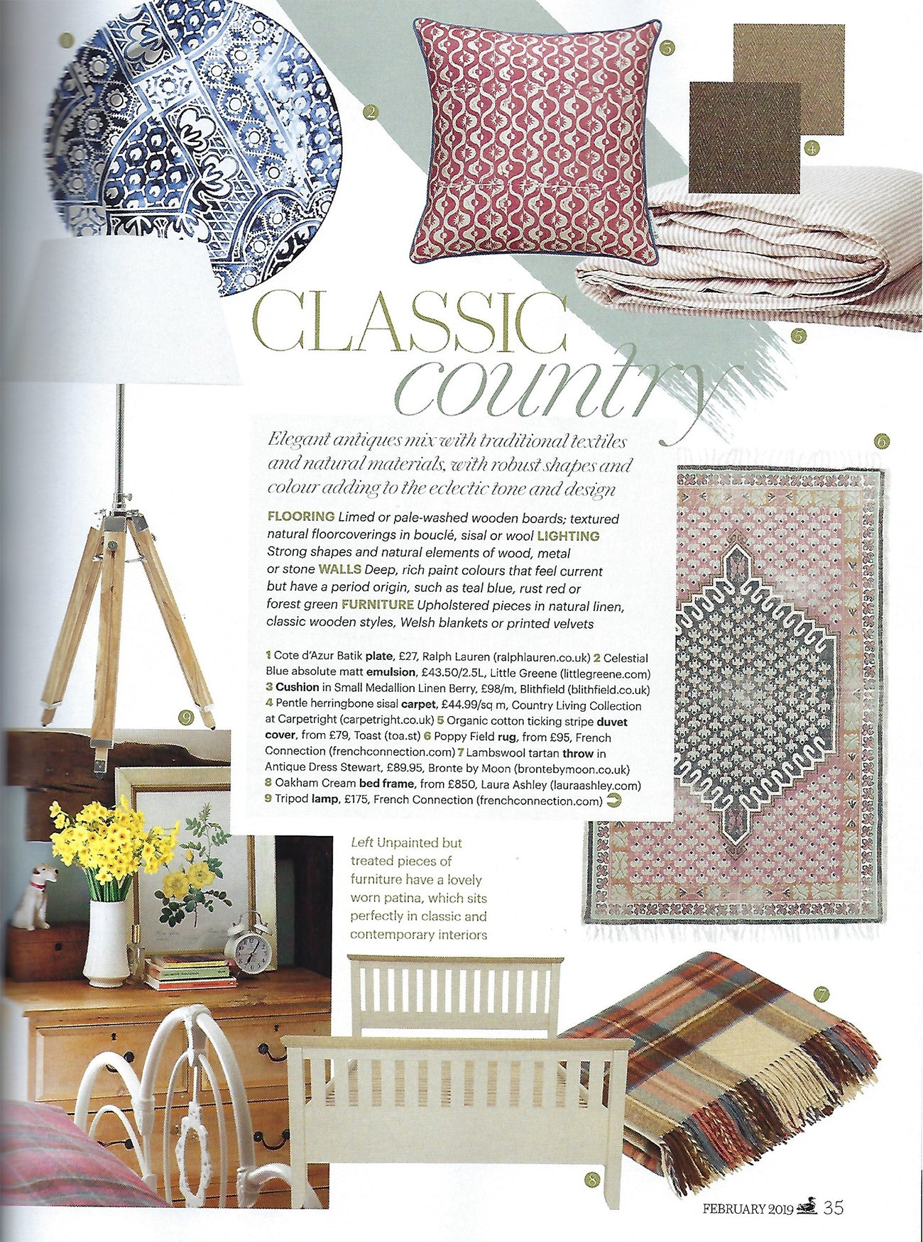 Wicklewood Small Medallion cushion in red berry featured the Classic Country article in Country Living February 2019 Issue