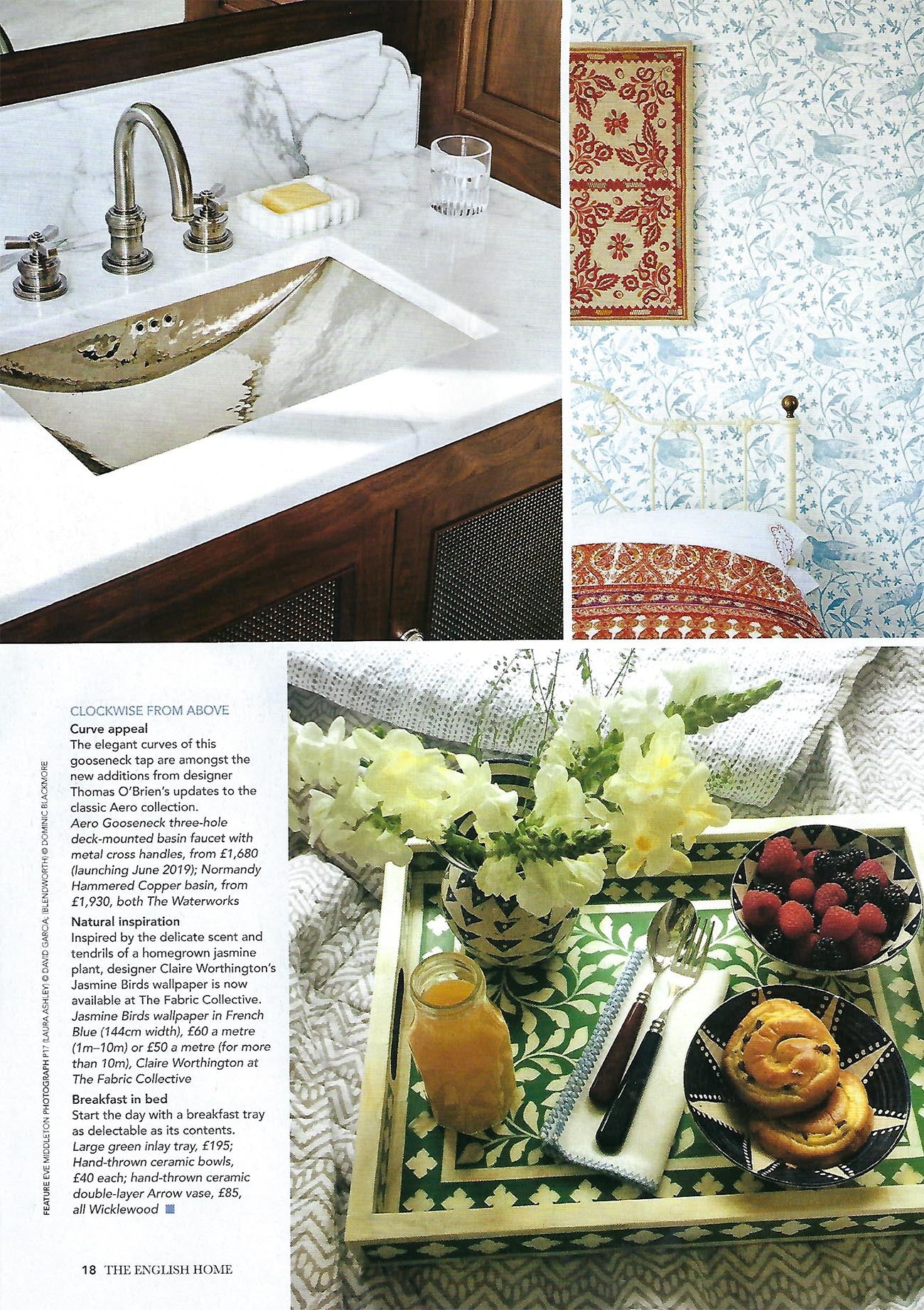 Wicklewood's green bone and wood inlay tray featured in The English Homes May 2019 issue
