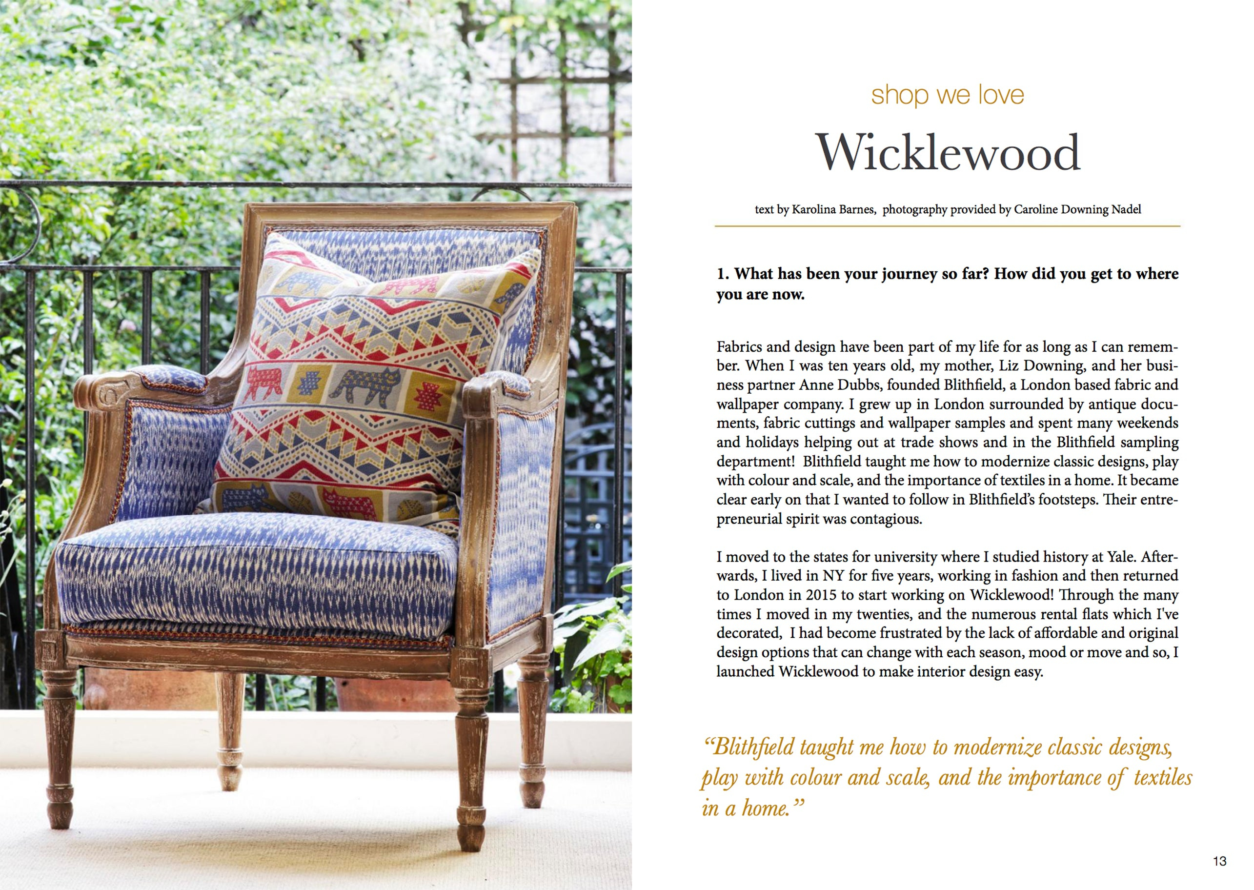 Wicklewood Press - Estila Magazine featuring Blithfield