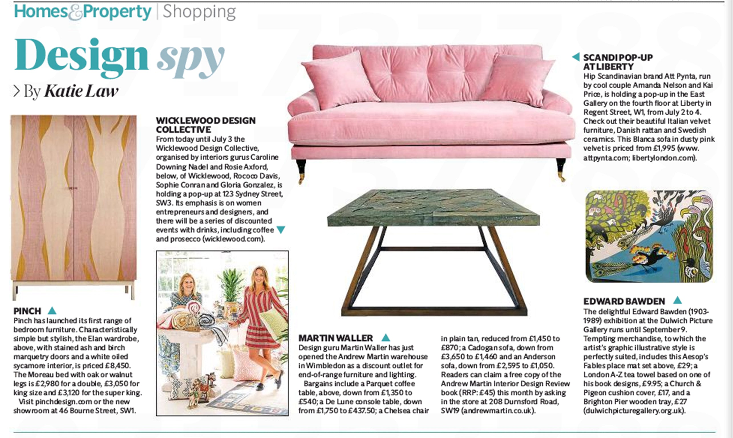Wicklewood Press | The Evening Standard | Design Spy - The Wicklewood Design Collective