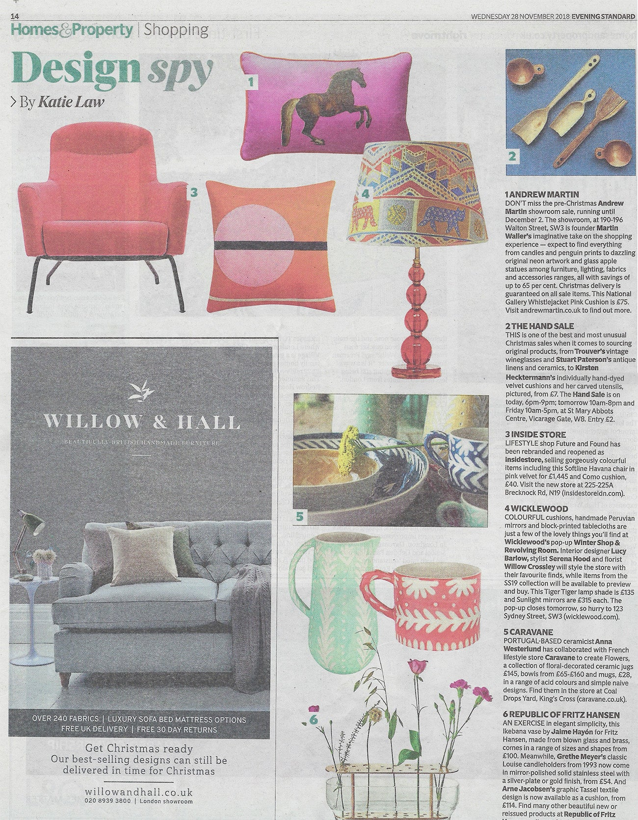Evening Standard Design Spy November featuring Wicklewood X Pooky Tiger Tiger Lampshade