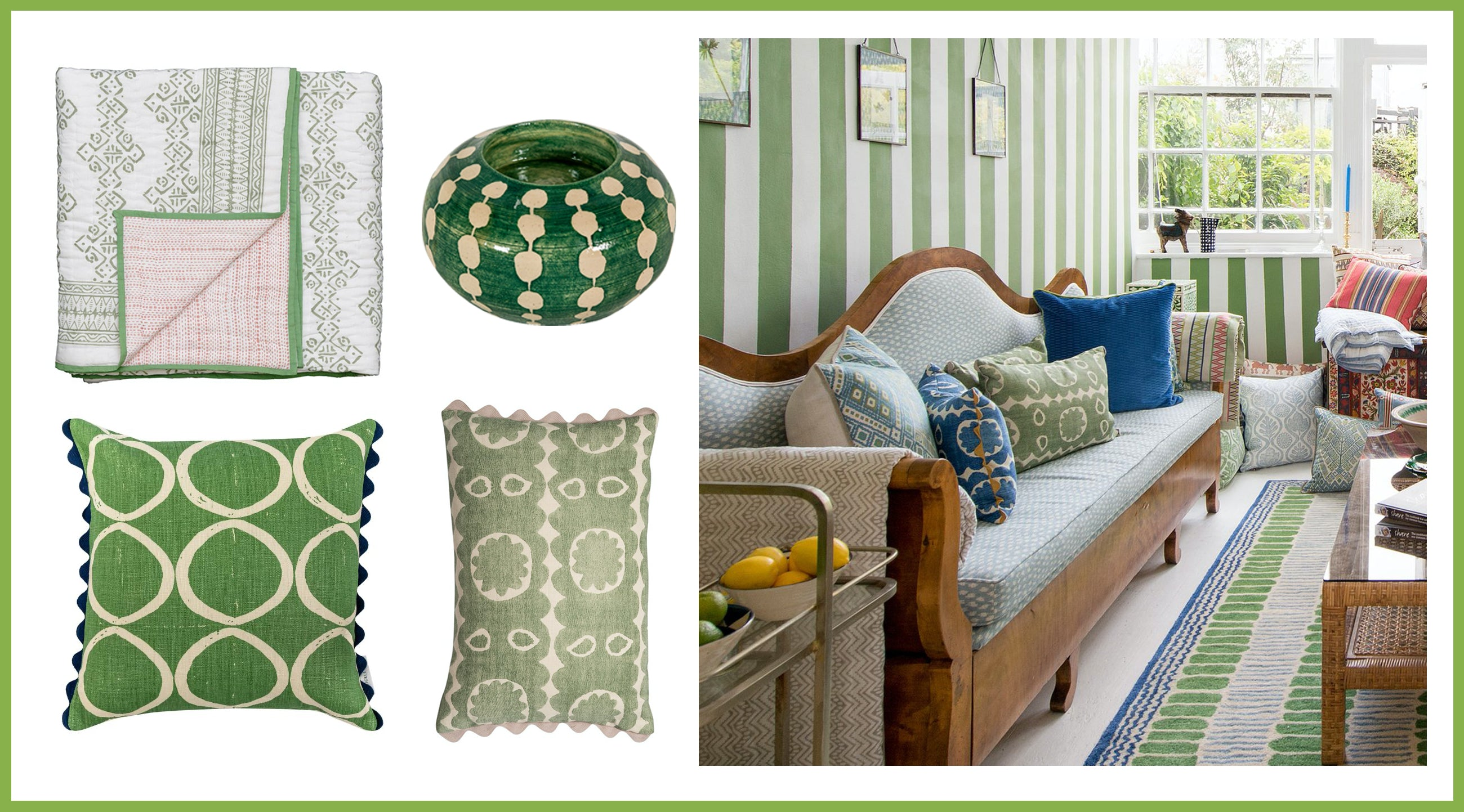 wicklewood green patterned cushions, reversible quilts and hand thrown ceramics