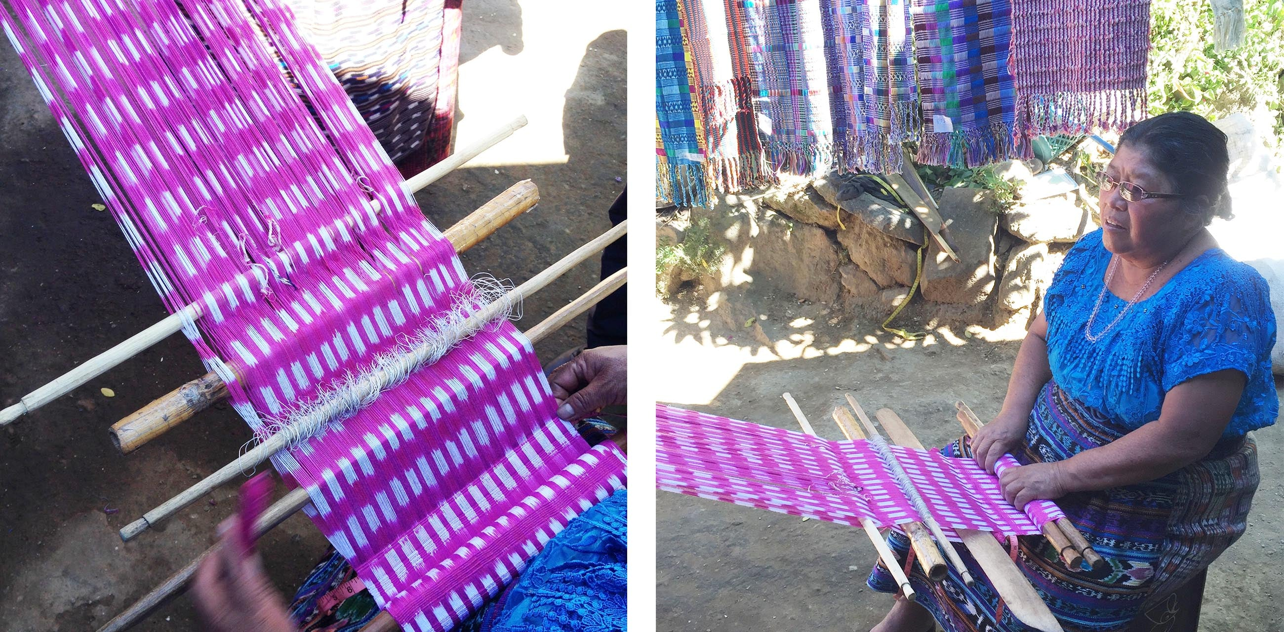 An image of a woman using a back strap loom to weave brightly coloured fabrics in Guatemala