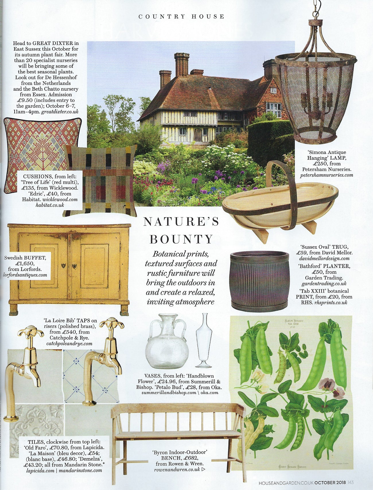 House & Garden October 2018 Issue - Wicklewood red Tree of Life cushion featured in Country House feature