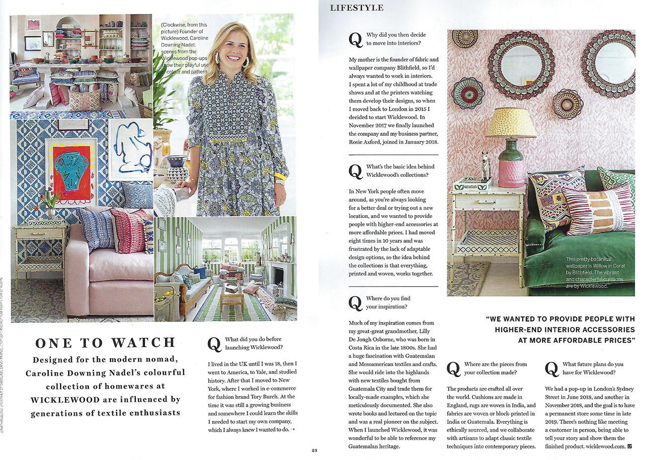 Wicklewood features in Homes & Gardens March 2019 - Ones To Watch article, featuring an interview with Caroline Downing Nadel and Claudia Baille