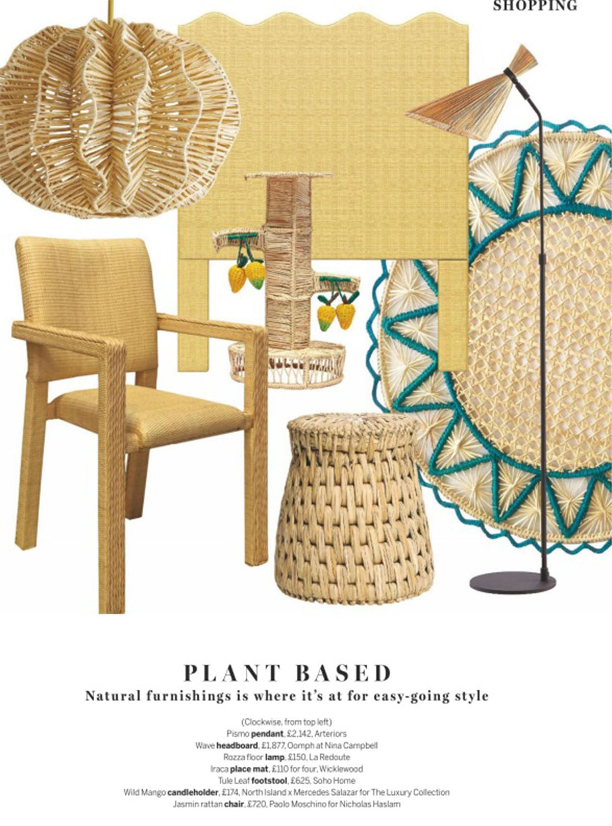 wicklewood iraca placemats featured in homes & gardens magazine