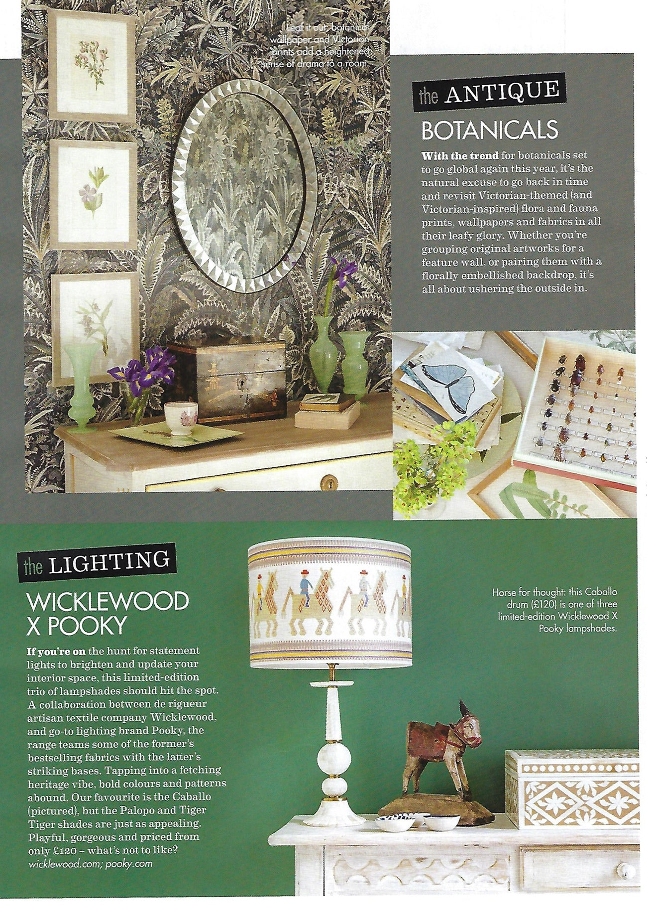 Homes & Antiques March 2019 features Wicklewood lampshades in collaboration with Pooky
