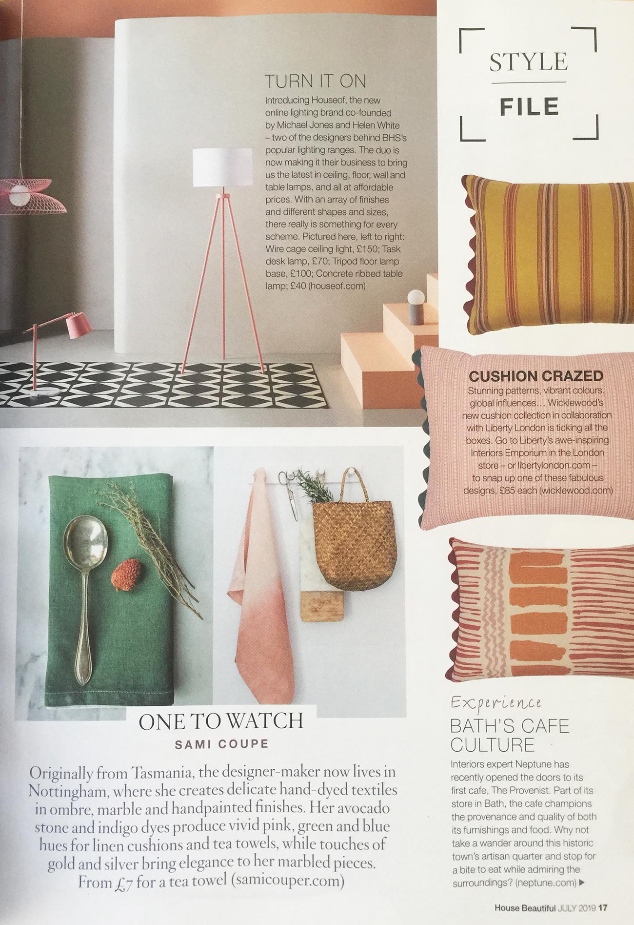 Wicklewood's spring cushions at Liberty featured in House Beautiful July 2019 Issue 'Style File' feature, featuring the Wicklewood pink, Saltaire orange and Canfield yellow cushions