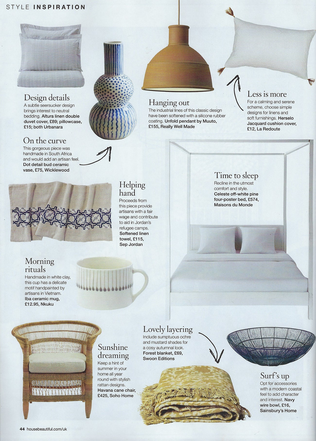 House Beautiful Style Inspiration Article - featuring Wicklewood's blue and white Dot Detail Bud Ceramic Vase from South Africa