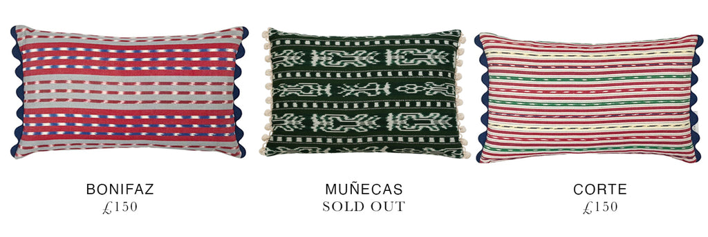 shop Job Studholme's favourite Wicklewood jaspe cushions crafted out hand woven guatemalan fabrics
