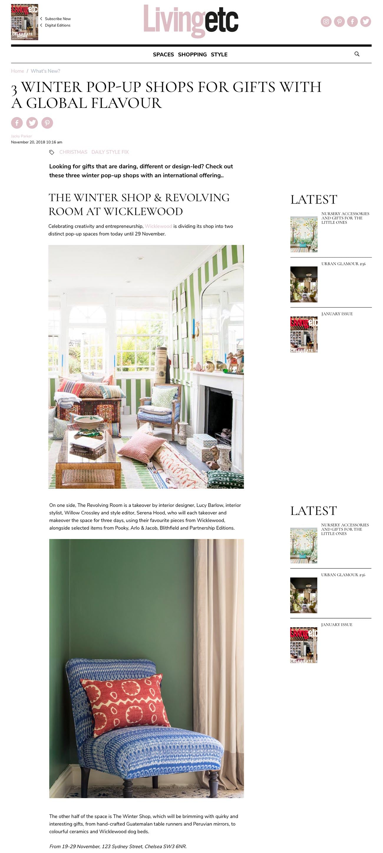 Living Etc. online editorial - 'Three Winter pop up Shops for gifts with Global Flavour' by Jacky Parker featuring Wicklewood Luxury home decor brand