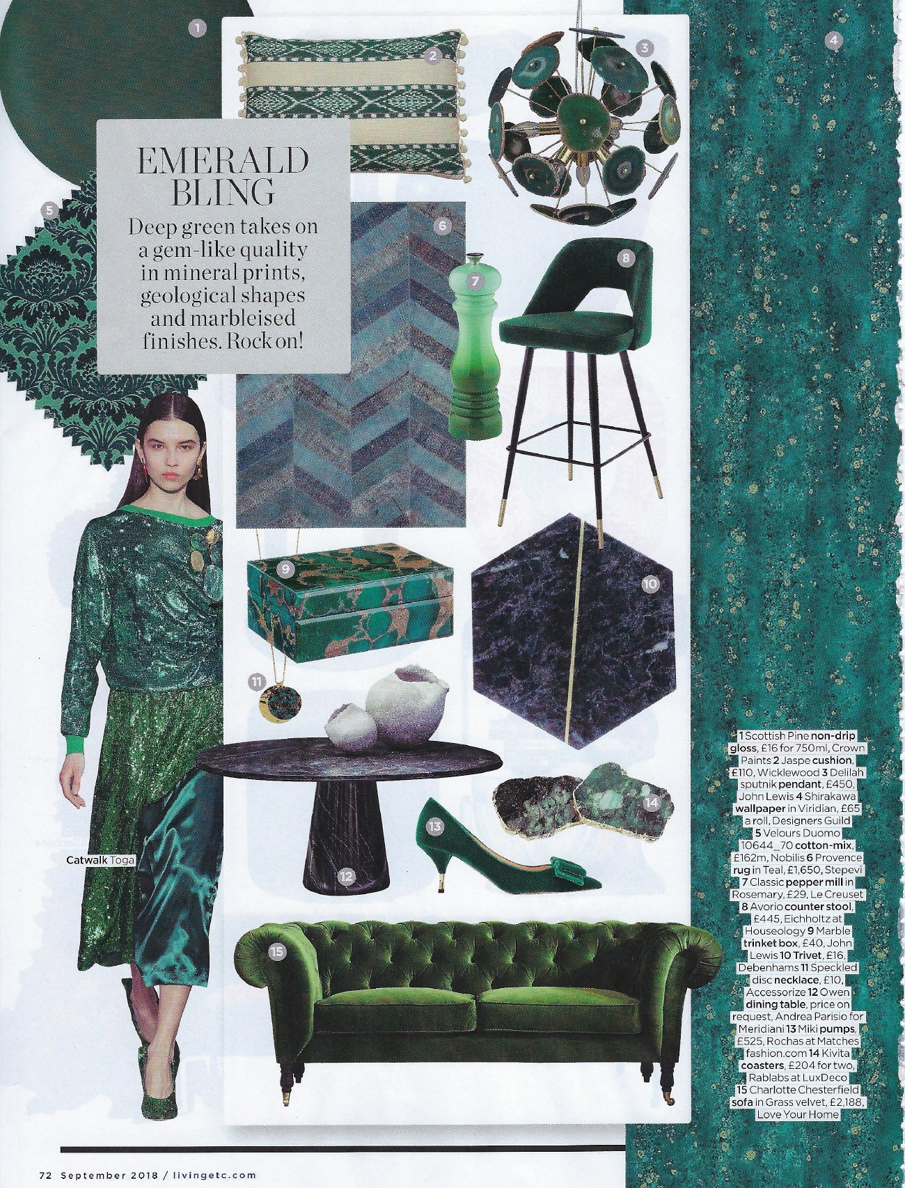 Wicklewood Press - Green Antigua cushion featured in Living Etc September 2018 issue, Emerald Bling article.