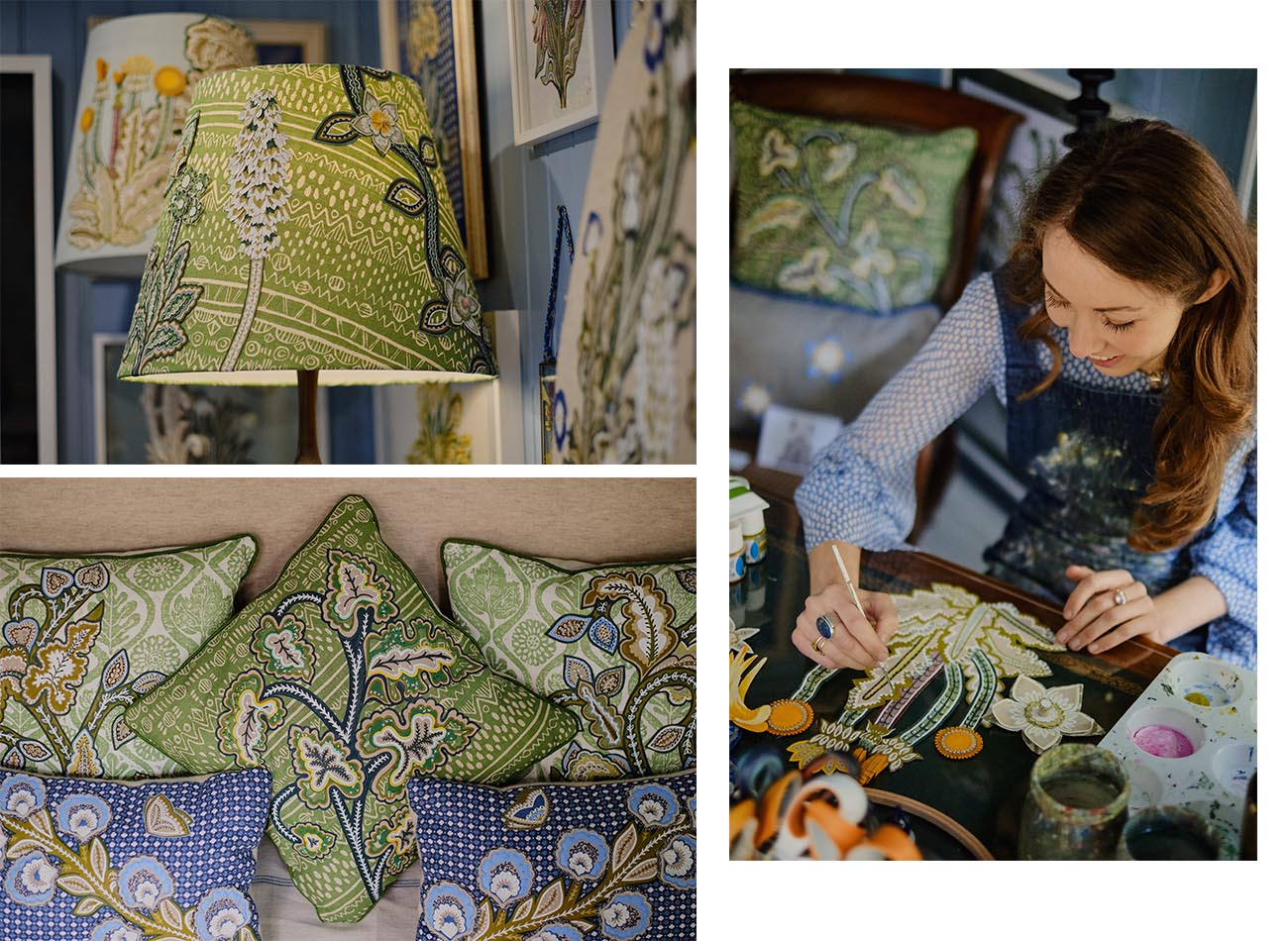 textile artist Natasha Hulse - an alumna of Chelsea College of Art and Design, Natasha creates intricate nature-inspired textiles using embroidery and applique - from bespoke headboards to cushion covers.