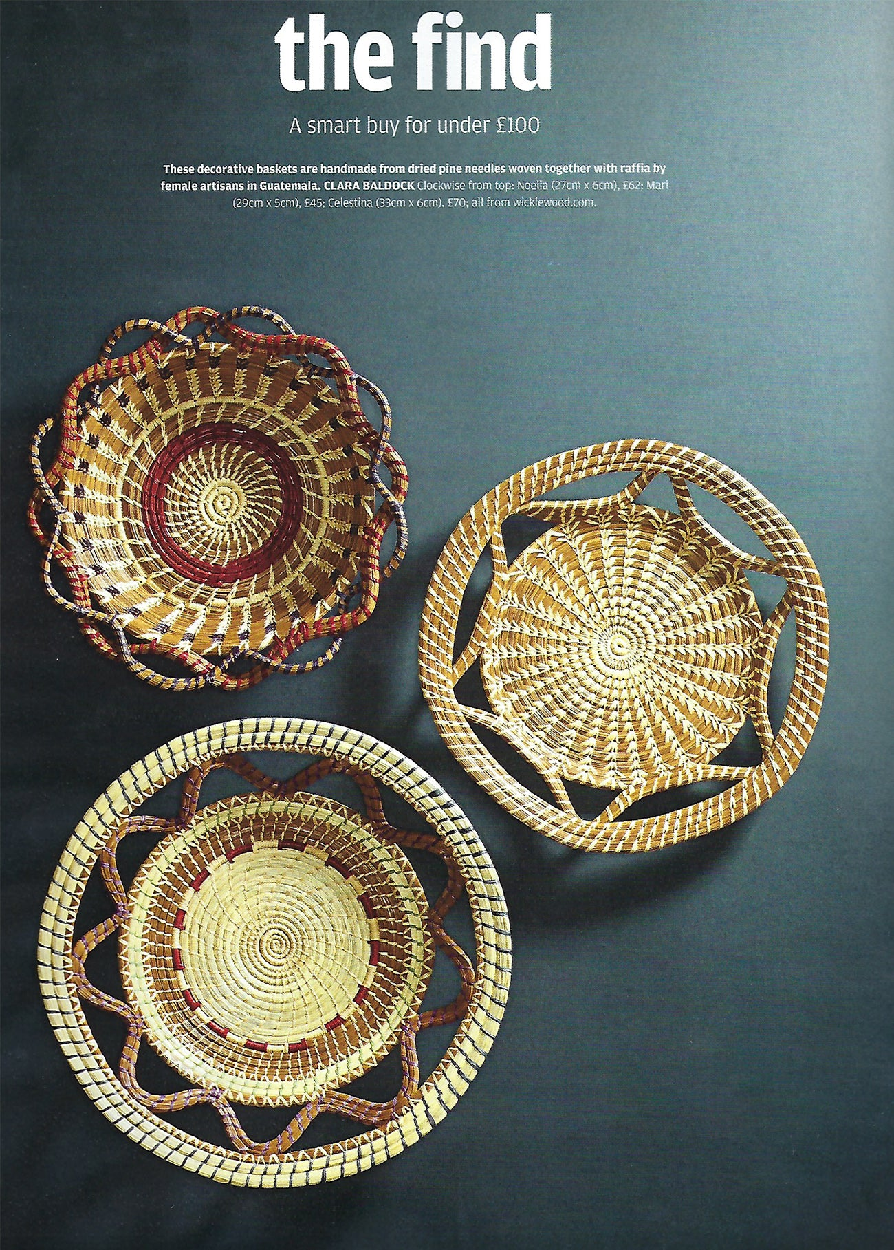 Wicklewood guatemalan baskets featured on How to Spend It - Finantial Times
