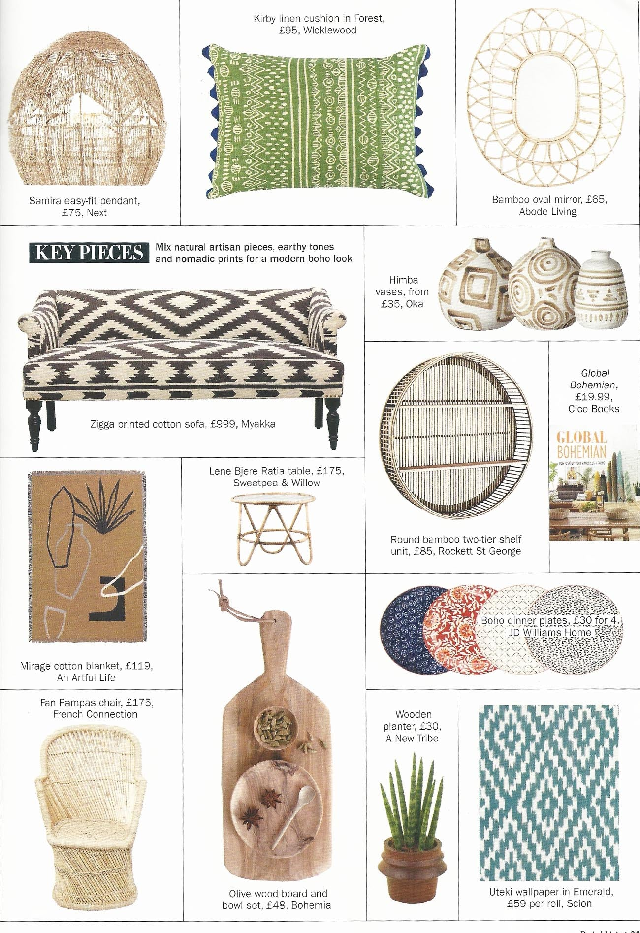 Wicklewood green oblong Kirby patterned cushion featured in Period Living July 2019 issue
