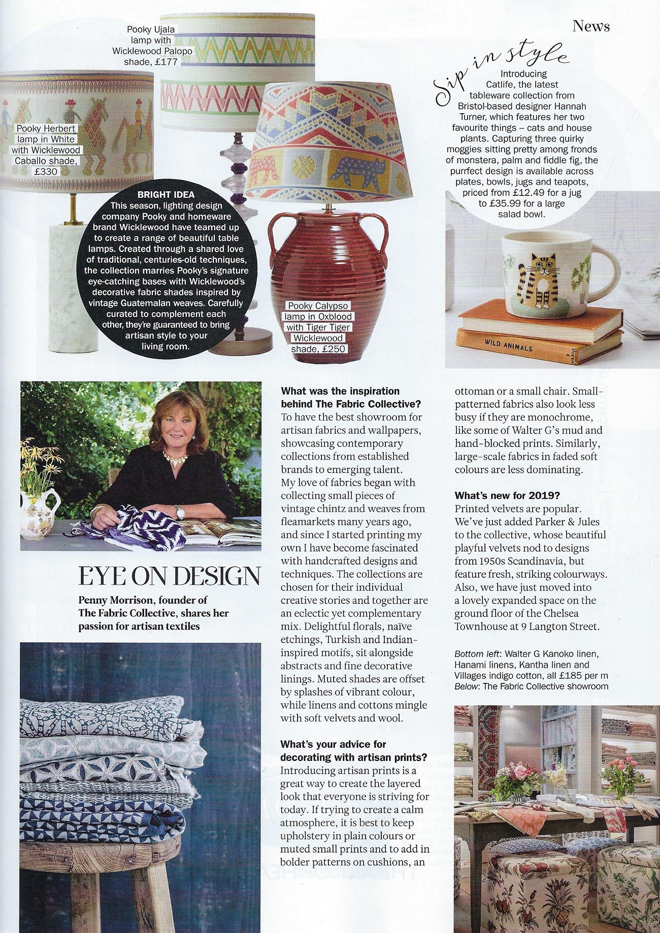 Wicklewood Press in Period Living February 2019 issue, featuring the Wicklewood X Pooky lampshade collaboration - Caballo, Tiger Tiger and Palopo