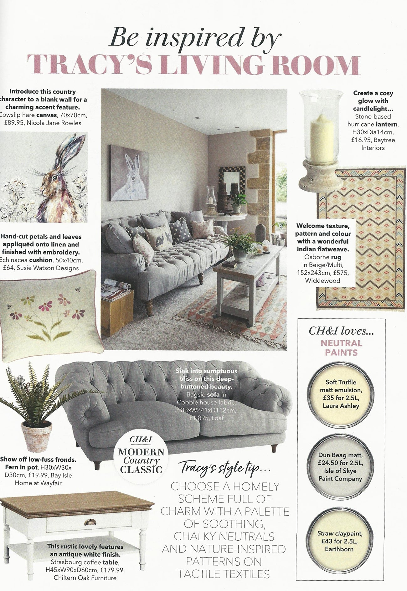 Wicklewood Osborne rug featured in Country Homes & Interiors