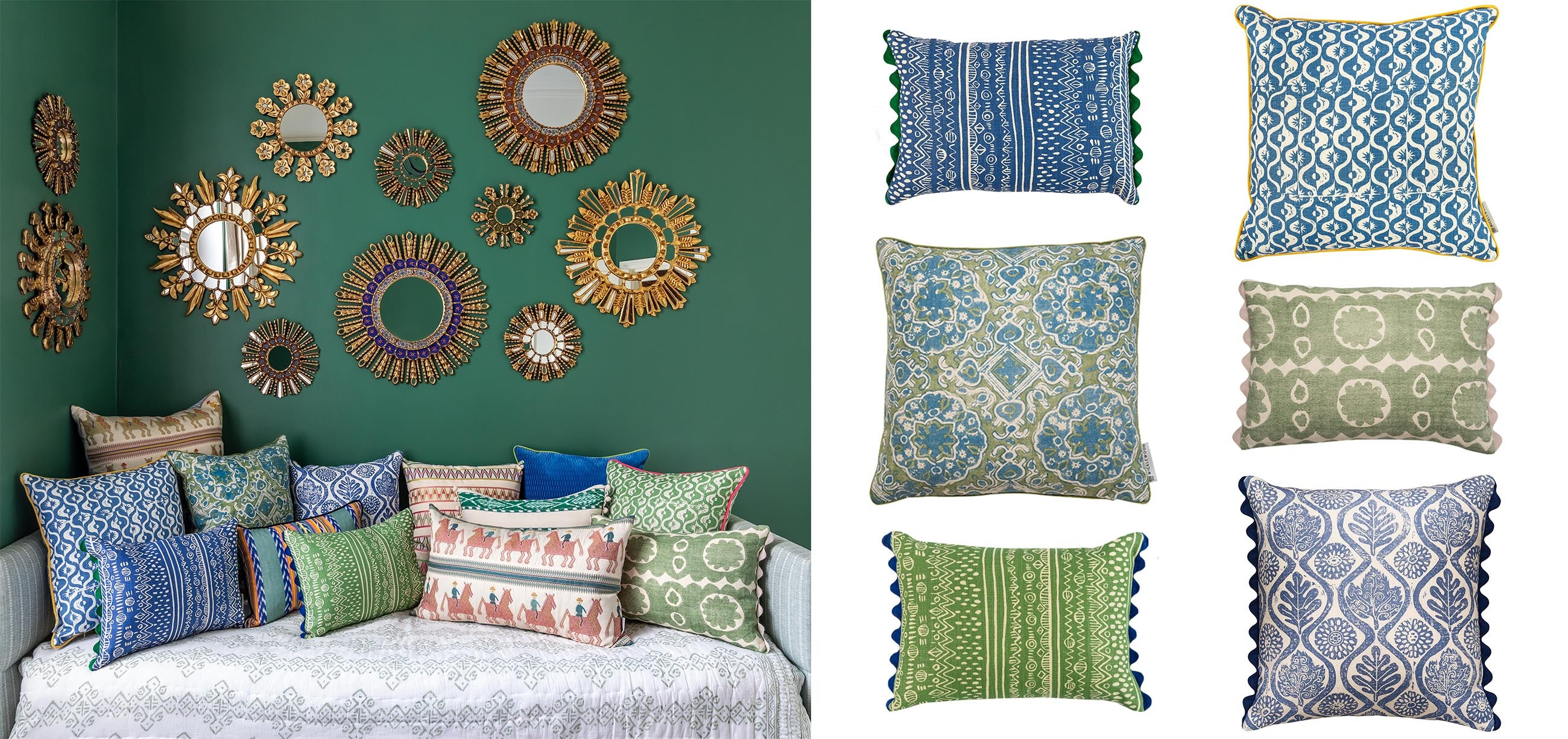 Wicklewood brightly coloured patterned square and oblong cushions in blue and green