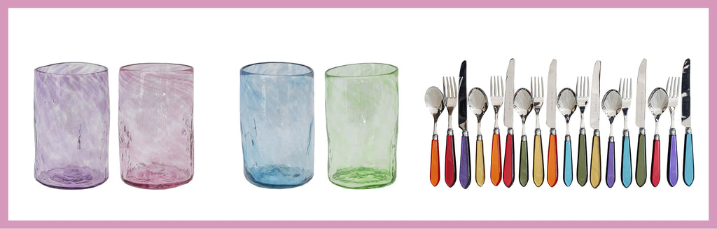 Wicklewood's colourful tabletop decor from handblown glasses to handmade resin cutlery