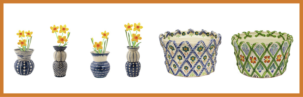 Wicklewood's handmade and hand-painted ceramic vases, platers and flower pots