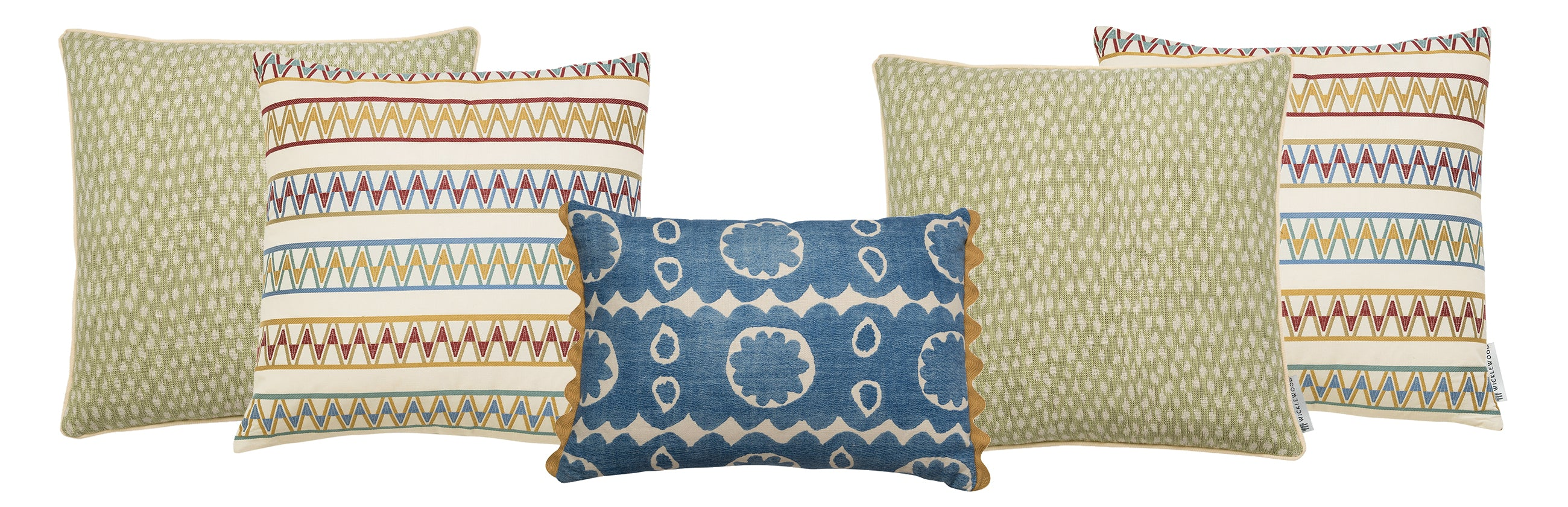 Wicklewood's Spring Cushion Sets, a pre-styled set of 3 square and oblong colourful throw cushions to instantly brighten up your home this season