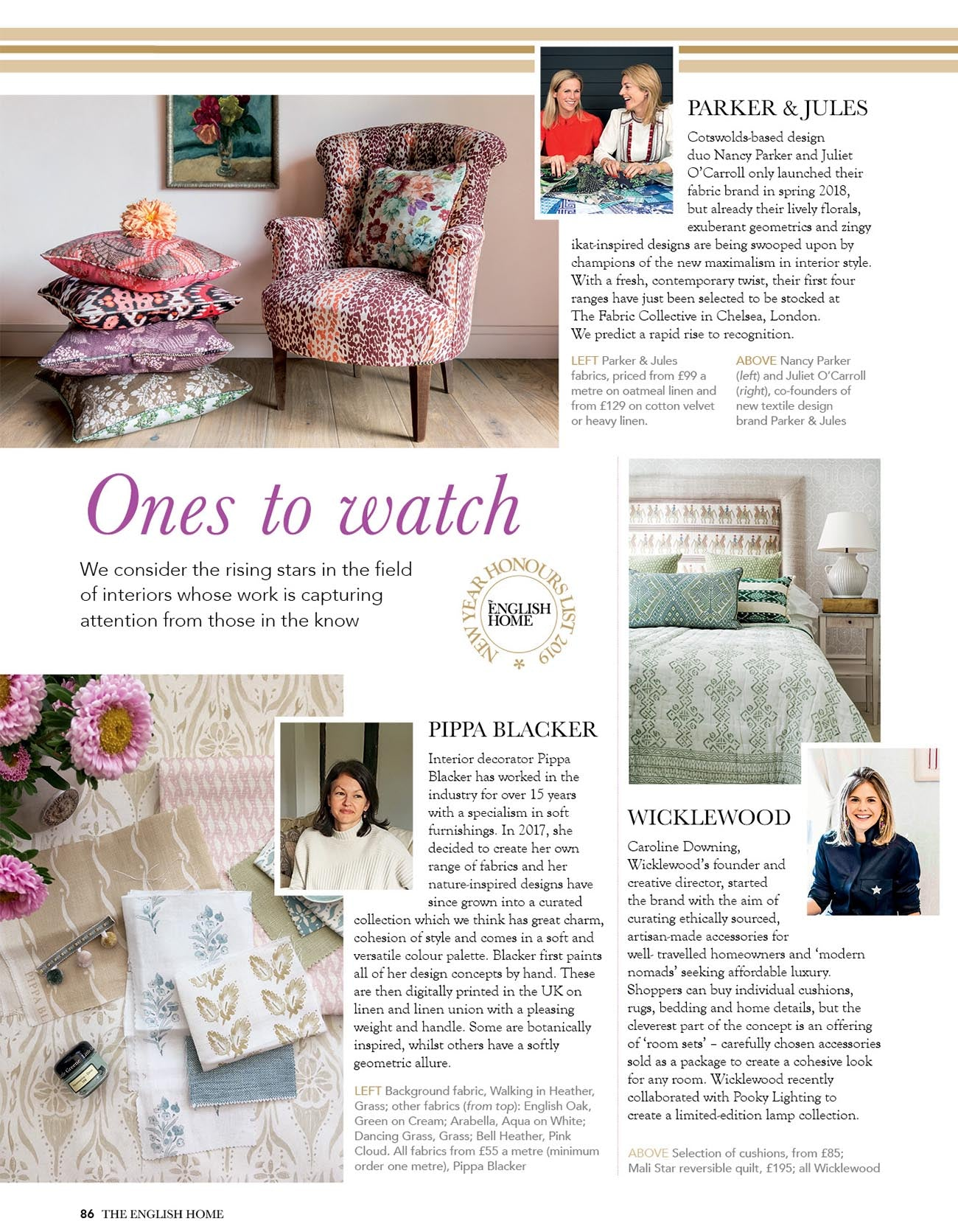 The English Home Magazine, New Year's Honours Awards: One's to Watch winner is Wicklewood luxury home furnishings brand.