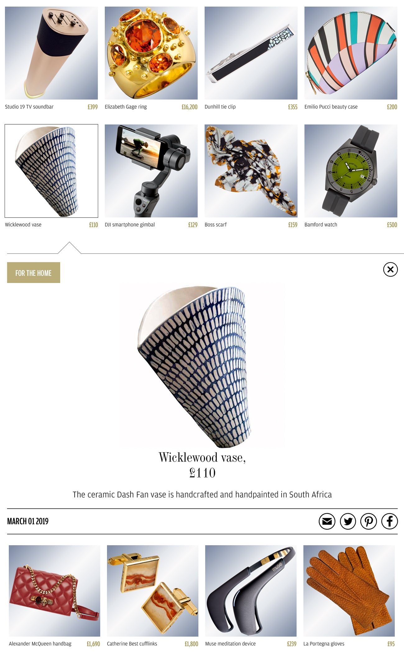 Wicklewood blue and white ceramic fan vase featured in The FT's How To Spend It Gift Guide