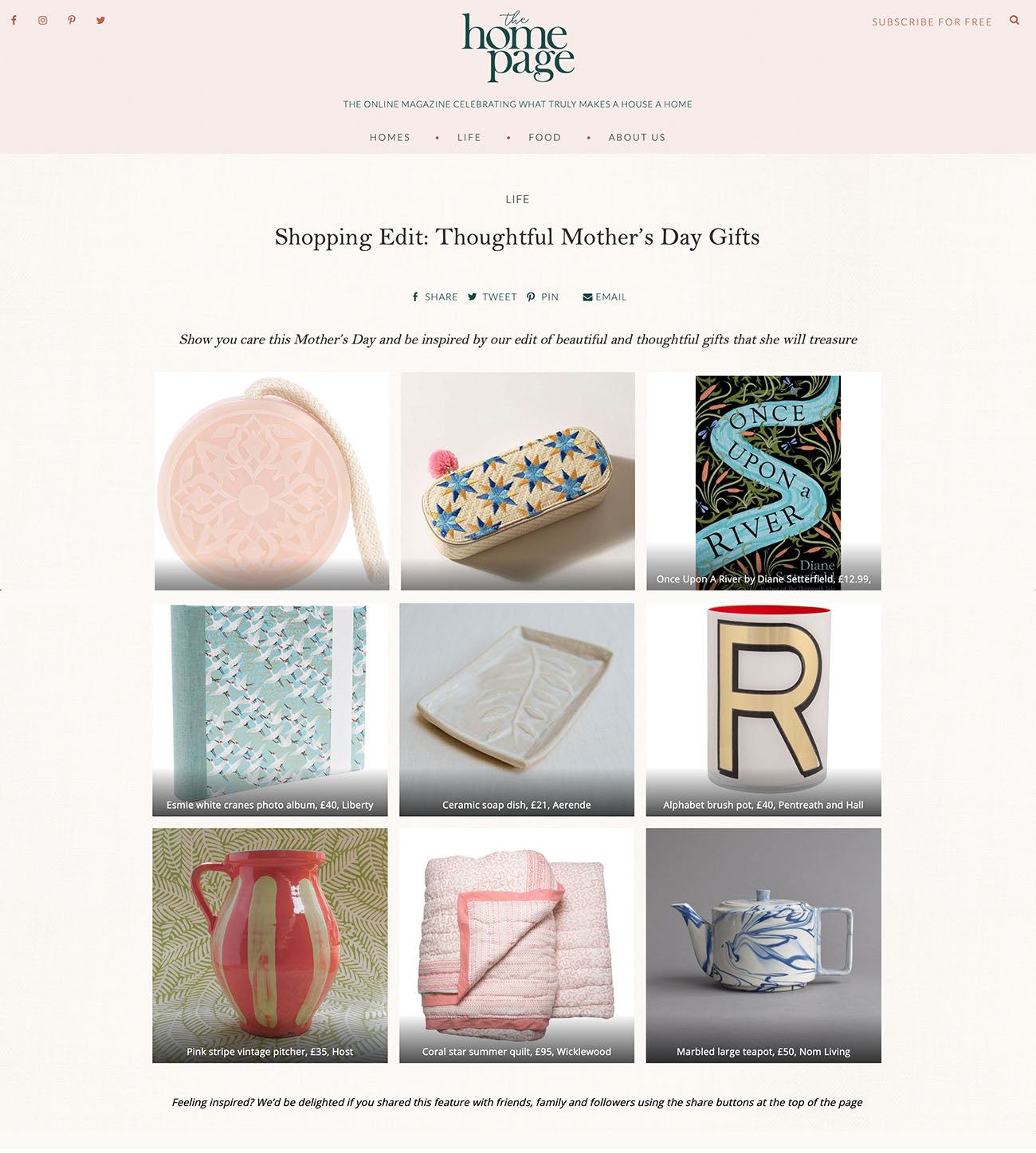 Wicklewood baby pink Coral Star quilt featured on The Homepage Mother's Day Gift Guide in April 2019