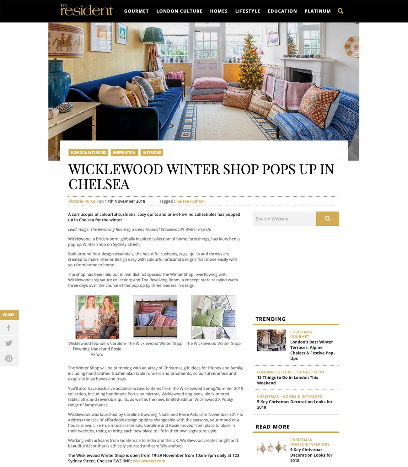 The Resident's online feature on Wicklewood's Christmas pop up shop - the Winter Shop & Revolving Room.