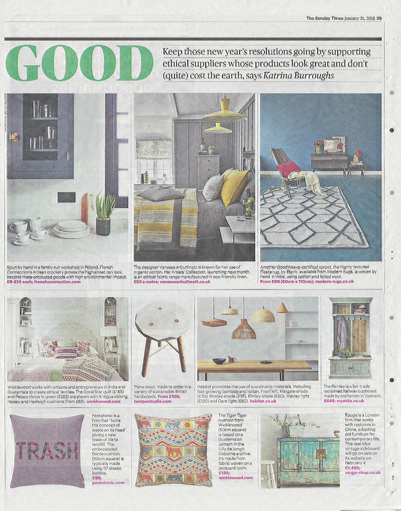 Wicklewood Press - The Sunday Times Home Supplement
