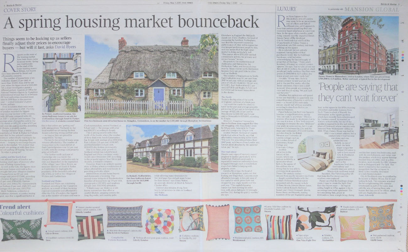 Wicklewood pink spotted and striped cushions featured in The Times newspaper house market bounce back article in May 2019